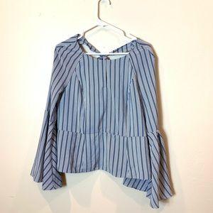 Bar III: vertical blue striped top